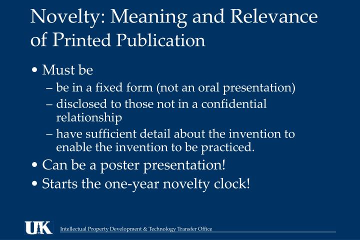 Novelty: Meaning and Relevance of P