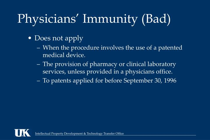 Physicians' Immunity (Bad)
