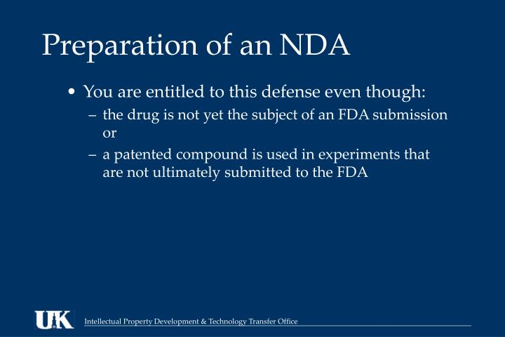 Preparation of an NDA