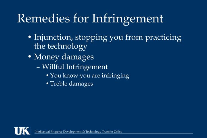 Remedies for Infringement