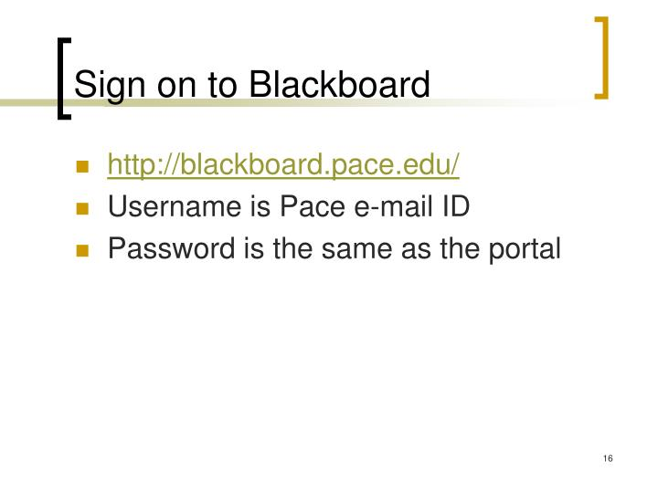 Sign on to Blackboard