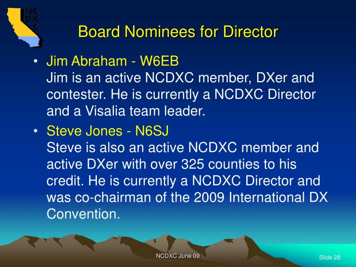 Board Nominees for Director