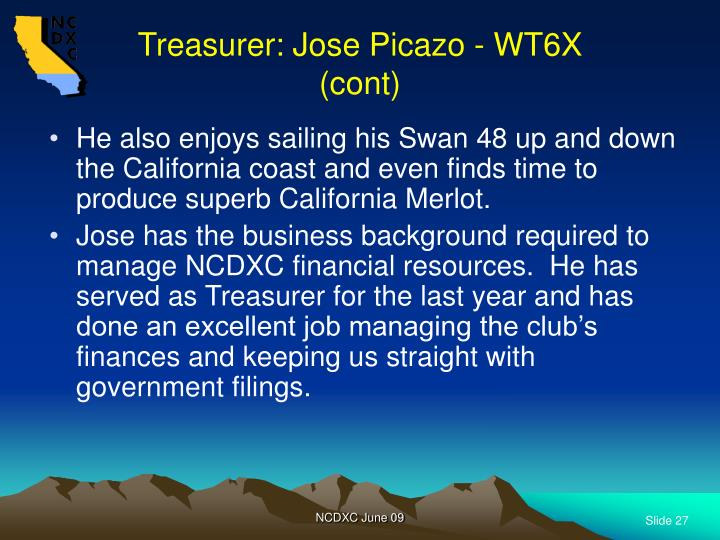 Treasurer: Jose Picazo - WT6X