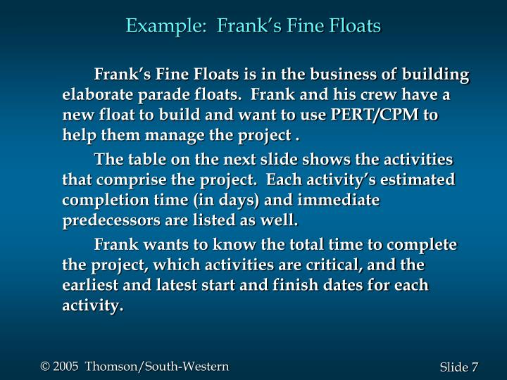Example:  Frank's Fine Floats
