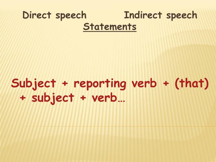 Direct speech         Indirect speech