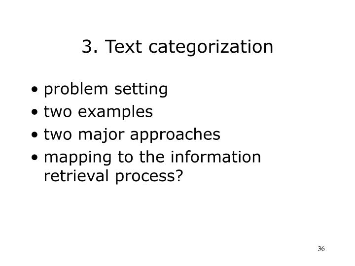 3. Text categorization