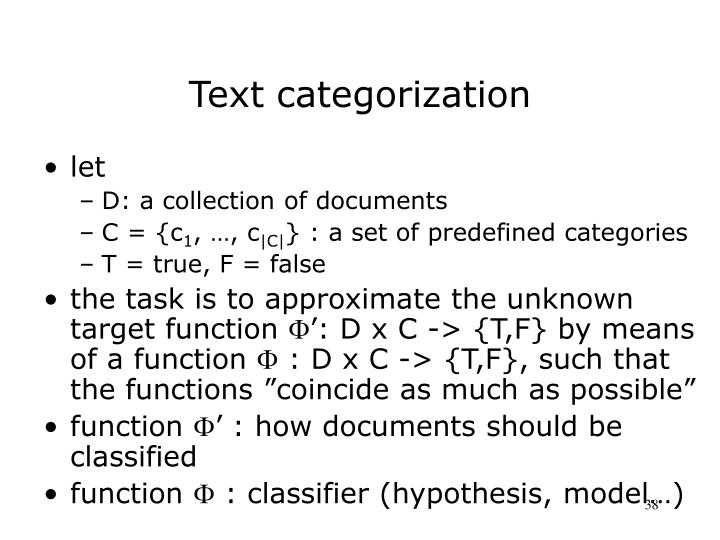 Text categorization