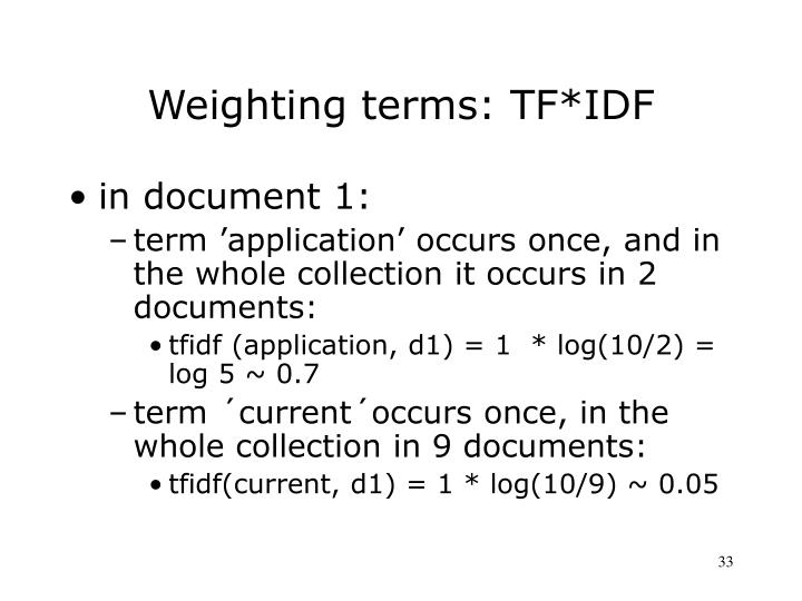 Weighting terms: TF*IDF