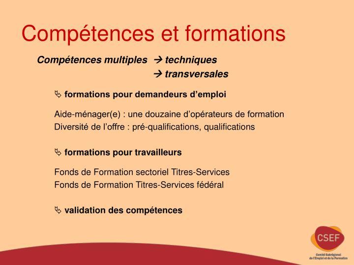 Compétences et formations