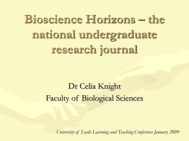 Bioscience horizons the national undergraduate research journal