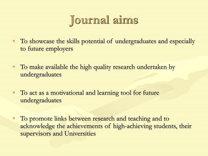 Journal aims