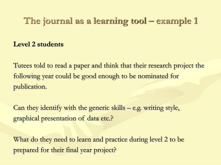 The journal as a learning tool – example 1