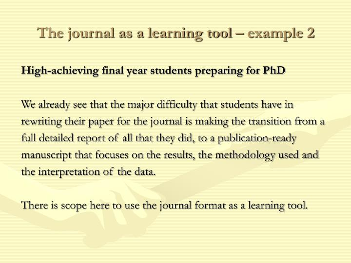 The journal as a learning tool – example 2