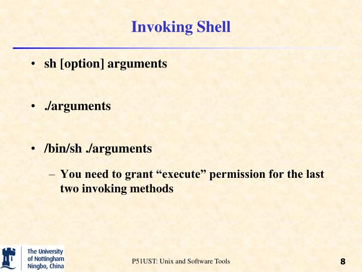 Invoking Shell