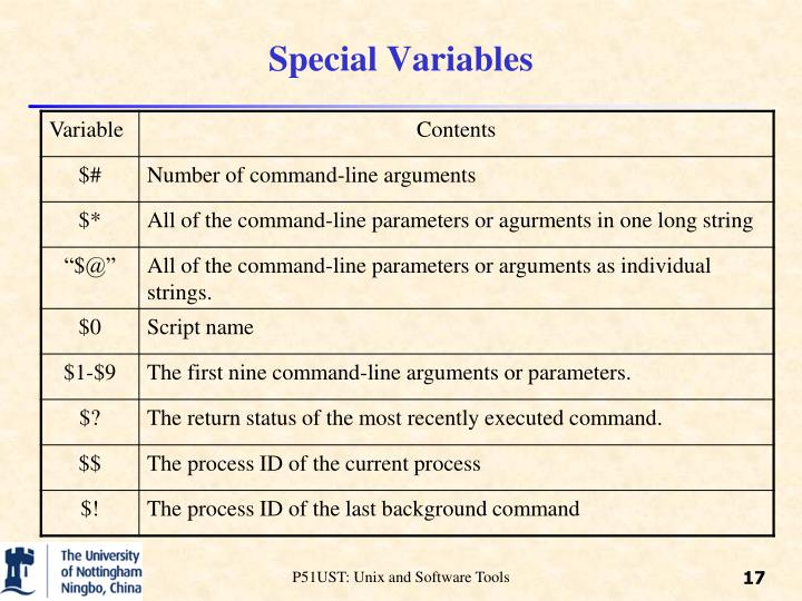 Special Variables