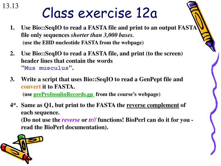 Class exercise 12a