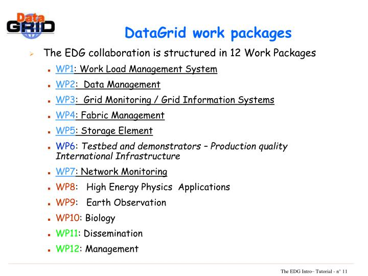 DataGrid work packages