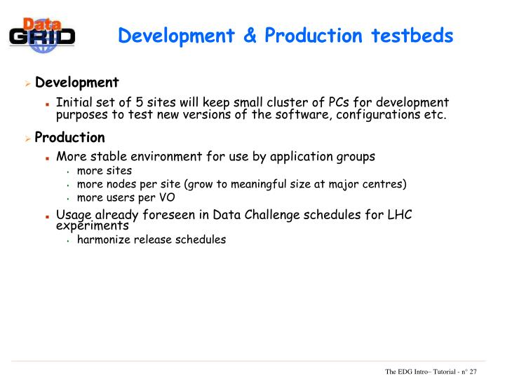 Development & Production testbeds