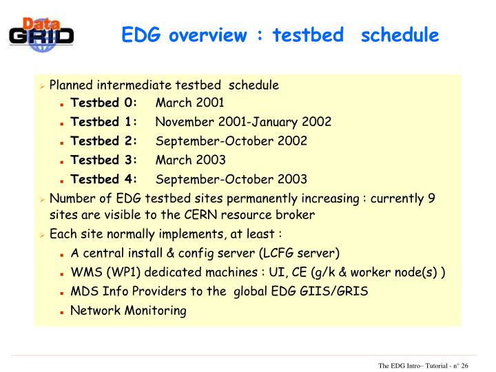 EDG overview : testbed  schedule