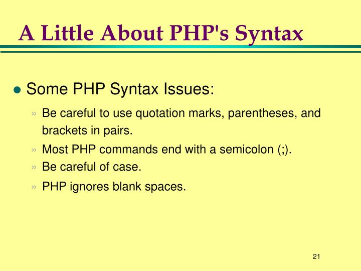 A Little About PHP's Syntax