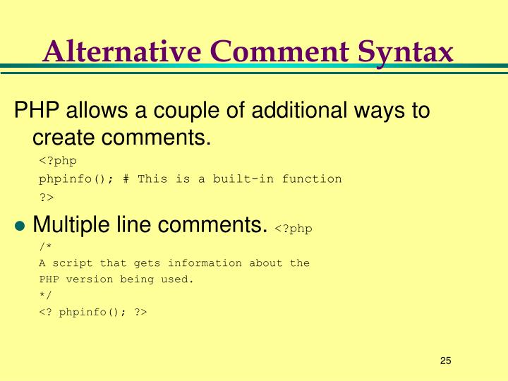 Alternative Comment Syntax