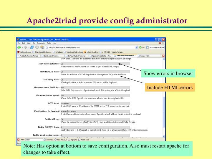 Apache2triad provide config administrator