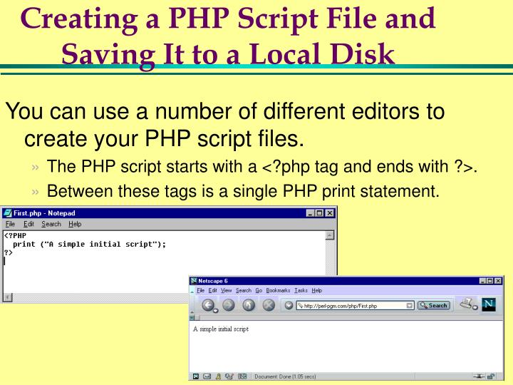 Creating a PHP Script File and Saving It to a Local Disk