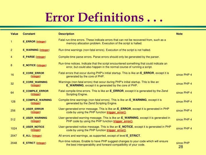 Error Definitions . . .