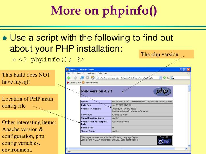 More on phpinfo()