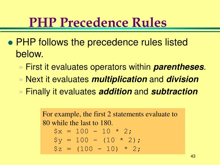 PHP Precedence Rules