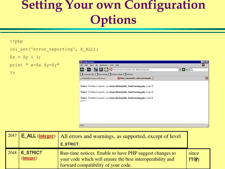 Setting Your own Configuration Options