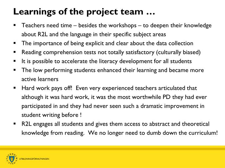 Learnings of the project team …