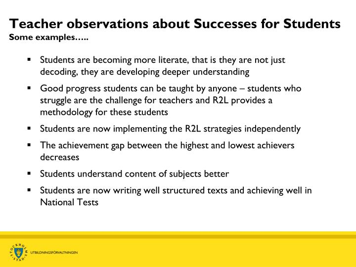 Teacher observations about Successes for Students