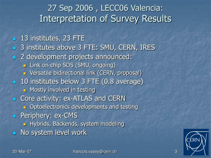 27 Sep 2006 , LECC06 Valencia: