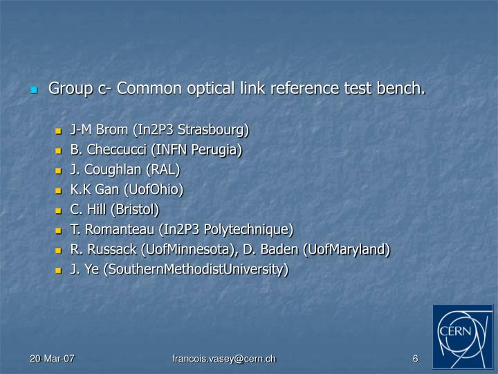 Group c- Common optical link reference test bench.
