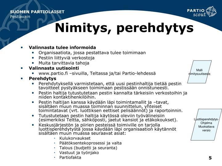 Nimitys, perehdytys