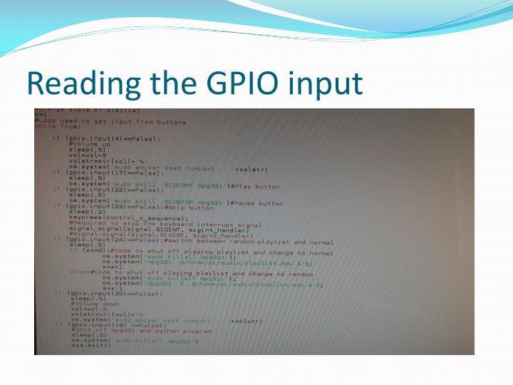 Reading the GPIO input