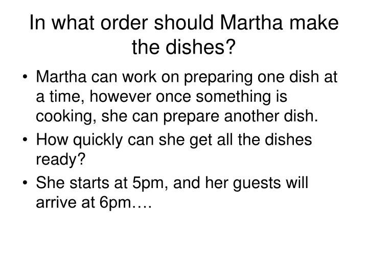 In what order should Martha make the dishes?