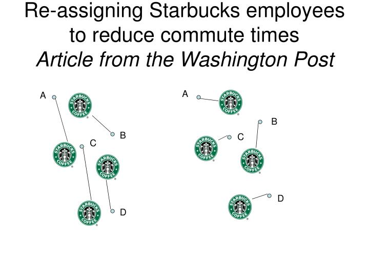 Re-assigning Starbucks employees to reduce commute times