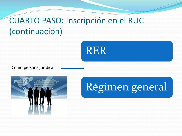 CUARTO PASO: Inscripción en el RUC (continuación)
