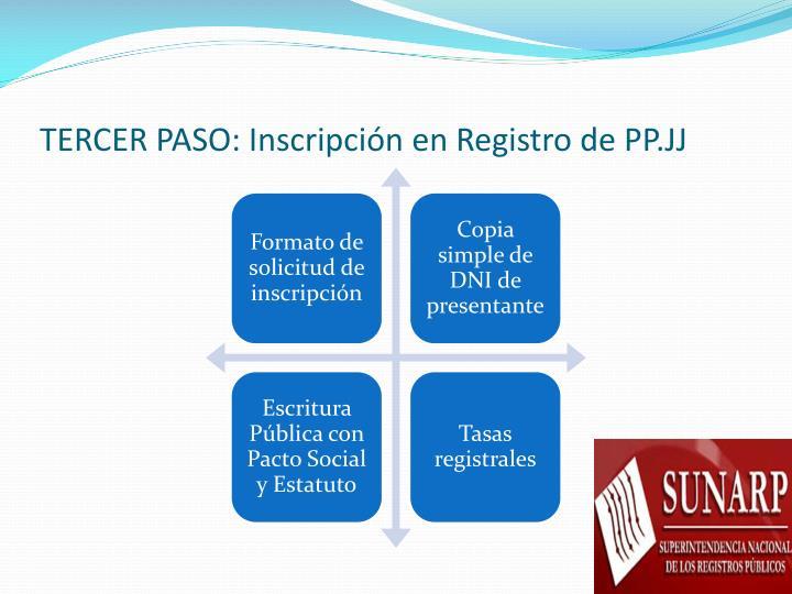 TERCER PASO: Inscripción en Registro de PP.JJ