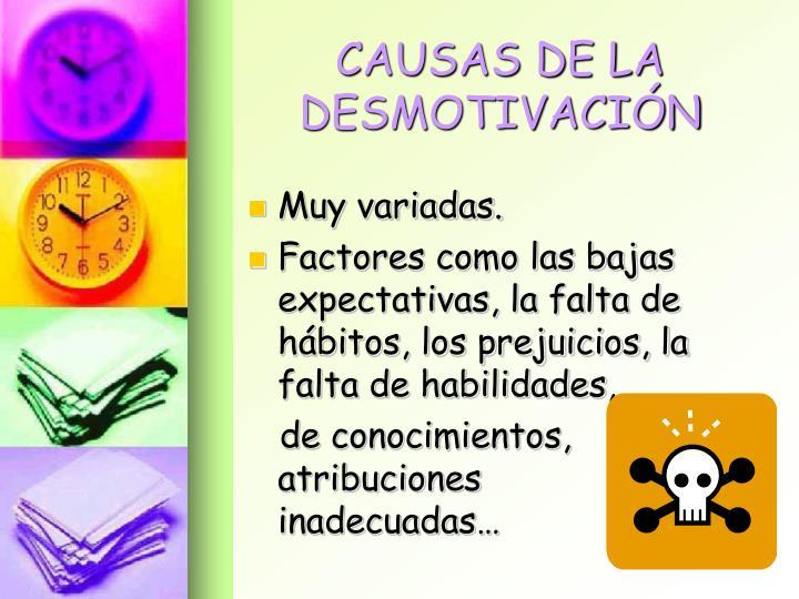 CAUSAS DE LA DESMOTIVACIÓN