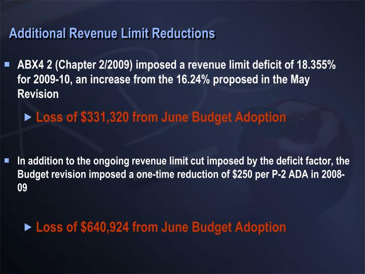 Additional Revenue Limit Reductions