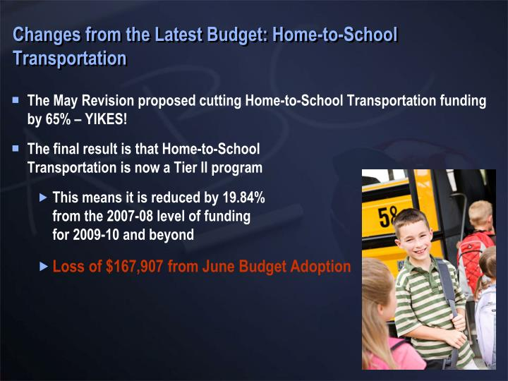 Changes from the Latest Budget: Home-to-School Transportation
