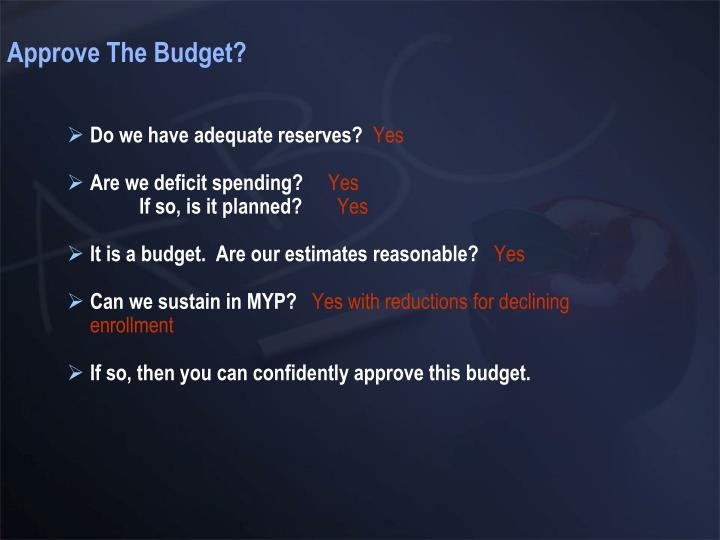 Approve The Budget?