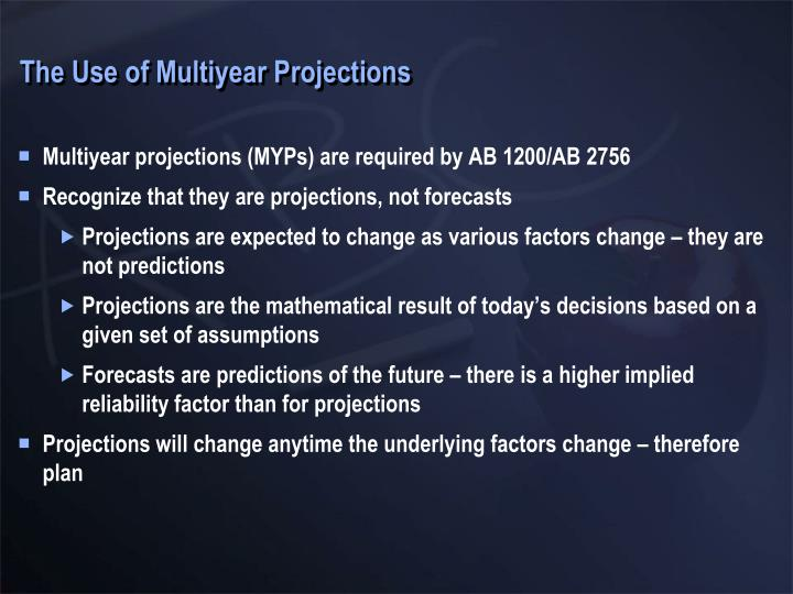 The Use of Multiyear Projections