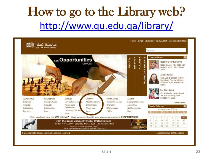 How to go to the Library web?