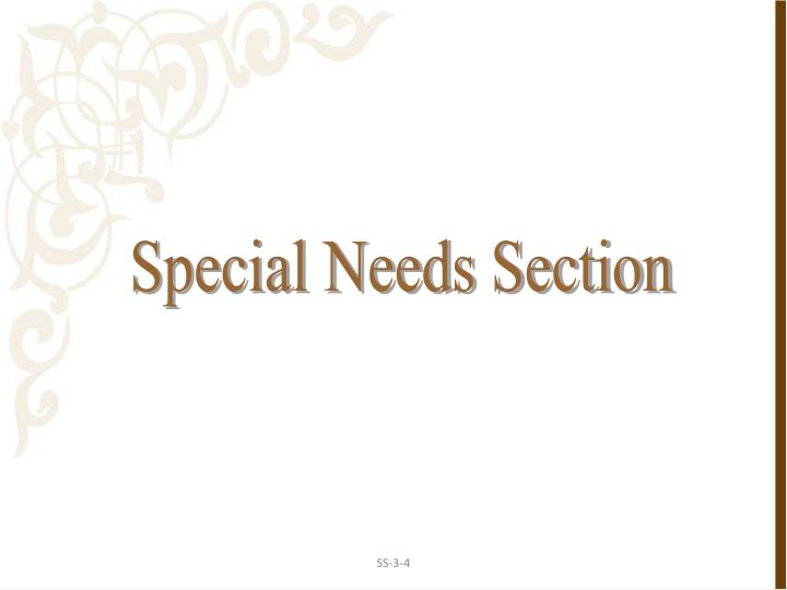 Special Needs Section