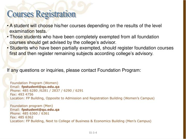 Courses Registration