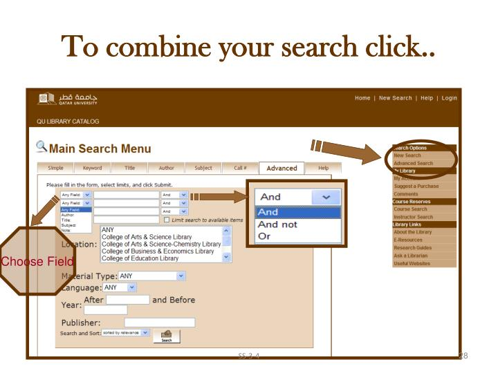 To combine your search click..